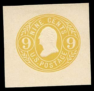 1068: 1865 USA #U66 WASHINGTON 9¢ CUT SQUARE