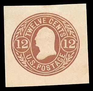 1069: 1865 USA #U69 WASHINGTON 12¢ CUT SQUARE