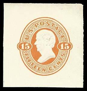 1070: 1870 USA #U97 WEBSTER 15¢ CUT SQUARE