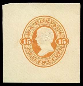 1071: 1870 USA #U98 WEBSTER 15¢ CUT SQUARE