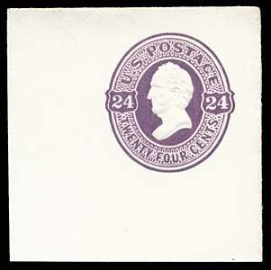 1072: 1870 USA #U99 SCOTT 24¢ PURPLE, FULL CORNER