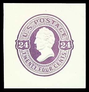 1073: 1870 USA #U100 SCOTT 24¢ CUT SQUARE