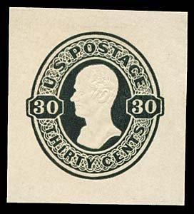 1074: 1870 USA #U104 HAMILTON 30¢ CUT SQUARE