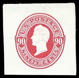 1075: 1870 USA #U105 PERRY 90¢ CARMINE, CUT SQUARE