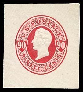 1076: 1870 USA #U107 PERRY 90¢ CUT SQUARE