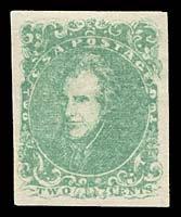 1406: 1862 CSA #3 JACKSON 2¢ LIGHT GREEN