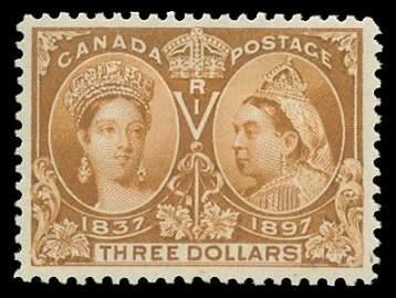 1583: 1897 CANADA #63 JUBILEE $3 YELLOW BISTRE