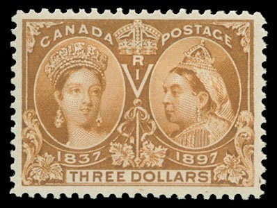 1583: 1897 CANADA #63 JUBILEE $3 YELLOW BISTRE