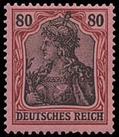 1810: 1902 GERMANY #65C-74 GERMANIA 2pf-80pf