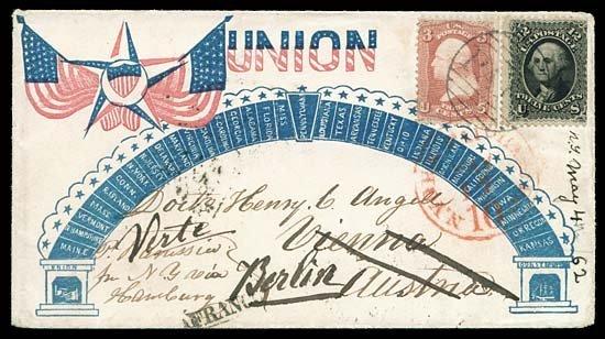 2111: 1862 USA #65,69 ANGELL PATRIOTIC TO AUSTRIA