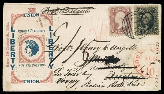 2112: 1862 USA #65,69 ANGELL PATRIOTIC TO AUSTRIA