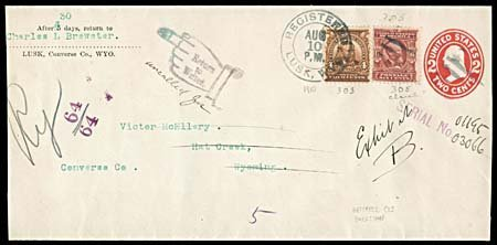 2113: 1910 WYOMING COVER FROM LUSK, WY, RETURNED