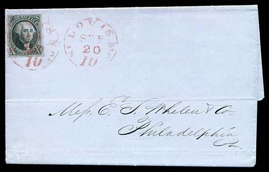 2114: 1847 USA #2 WASHINGTON 10¢ BLACK, ST. LOUIS