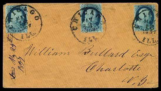 2116: 1857 USA #7 FRANKLIN 1¢ BLUE TYPE II (x3)