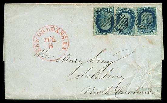 2117: c.1851 USA #7,9 FRANKLIN 1¢ BLUE (x3)