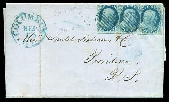 2119: 1851 USA #7 FRANKLIN 1¢ BLUE TYPE II (x3)