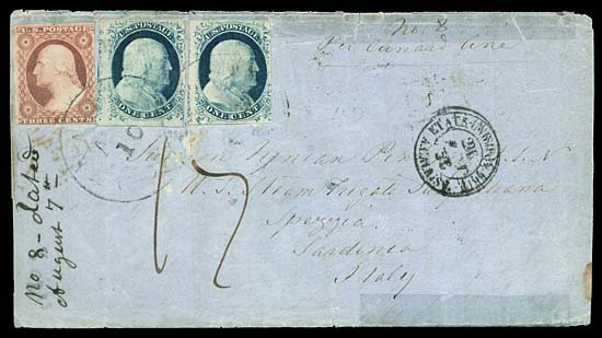 2120: 1856 USA #7, 9, 11 THREE STAMPS TO ITALY