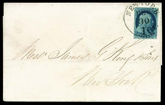 2121: 1851 USA #7 FRANKLIN 1¢ BLUE TYPE II