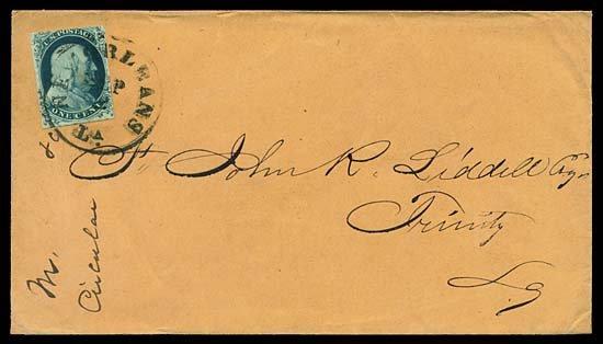 2122: c.1851 USA #7 FRANKLIN 1¢ BLUE TYPE II