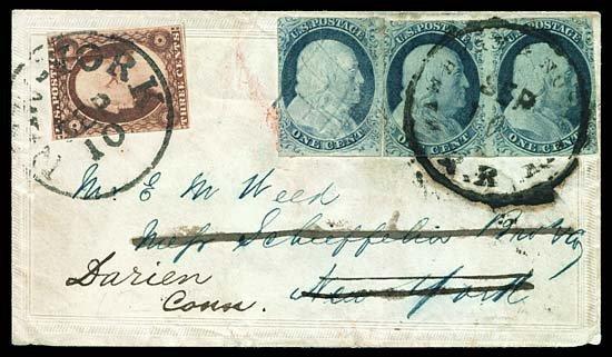 2123: 1852 USA #9 FRANKLIN 1¢ BLUE PAIR & SINGLE, RR