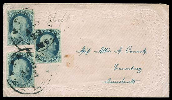 2124: USA #9 FRANKLIN 1¢ BLUE (x3) DOUBLE TRANSFER