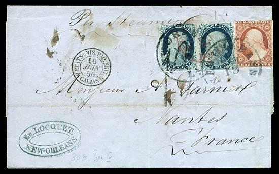 2125: 1856 USA #9,11 FRANKLIN 1¢ BLUE, TO FRANCE