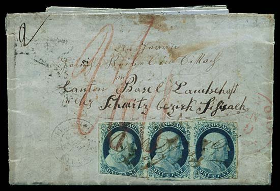 2126: 1852 USA #9 FRANKLIN 1¢ BLUE TYPE IV, STRIP