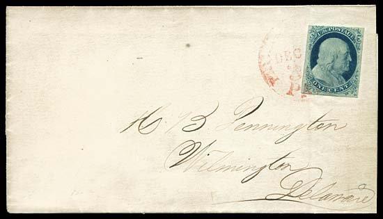 2128: c.1852 USA #9 FRANKLIN 1¢ BLUE TYPE IV