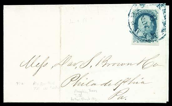2129: 1854 USA #9 var FRANKLIN 1¢ BLUE TYPE IV