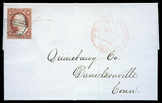 2130: 1851 USA #10 WASHINGTON 3¢ ORANGE BROWN, TYPE I