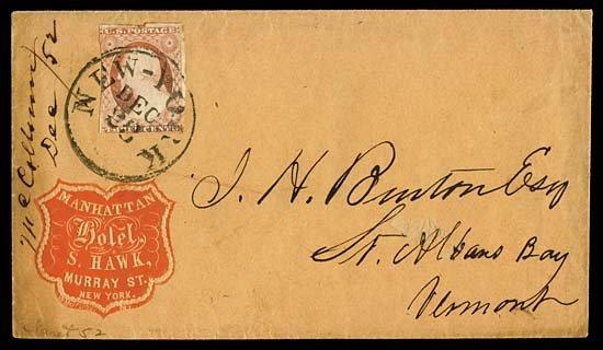 2131: 1851 USA #11 WASHINGTON 3¢ DULL RED, ADVERT