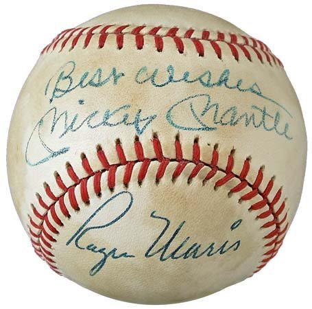2763: MICKEY MANTLE & ROGER MARIS SIGNED BASEBALL