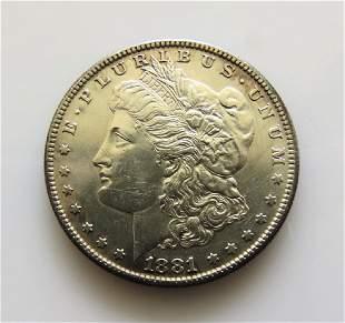 1881 S Morgan Silver Dollar Choice Almost Unc