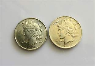 Two 2 1922 Peace Dollars Choice Uncirculated