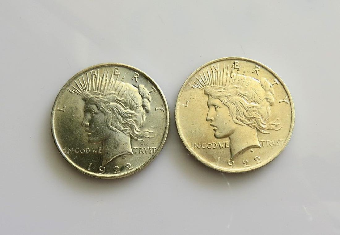 Two (2) 1922 Peace Dollars Choice Uncirculated