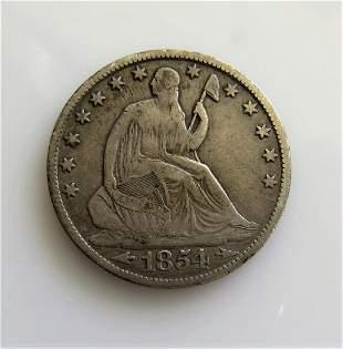 1854 0 with Arrows Seated Liberty HalfDollar