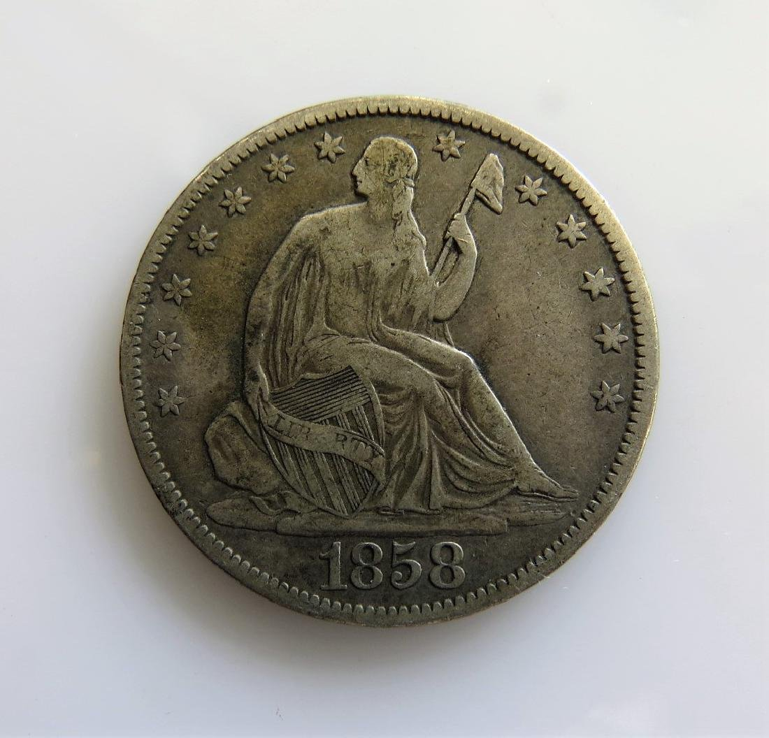 1858 Seated Liberty Half-Dollar