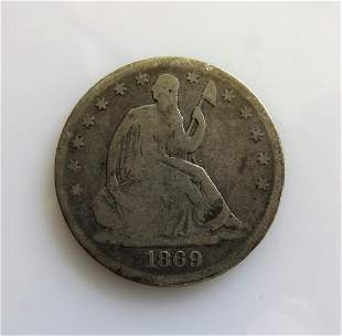 1869 P Seated Liberty HalfDollar A better date coin