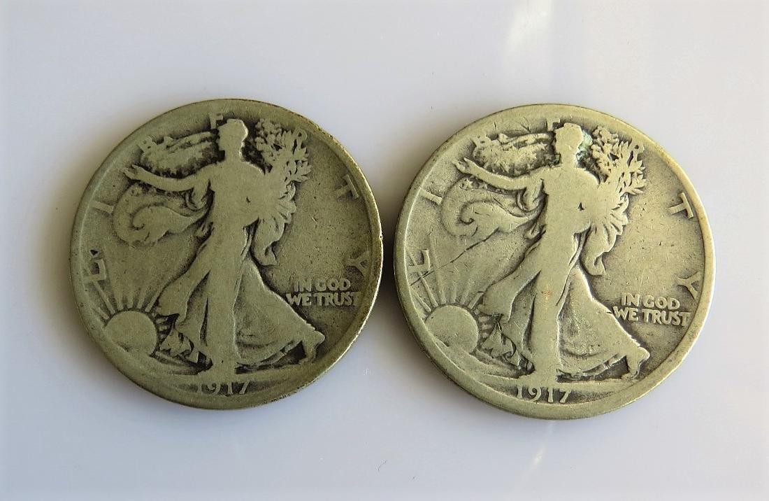 1917 D and 1917 S Reverse Walking Liberty Half-Dollars
