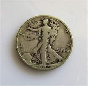 1933 S Walking Liberty HalfDollar Fine