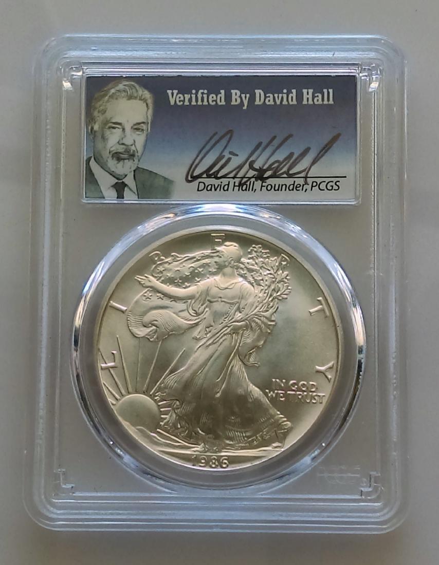 1986 American Silver Eagle Dollar PCGS MS70 David Hall