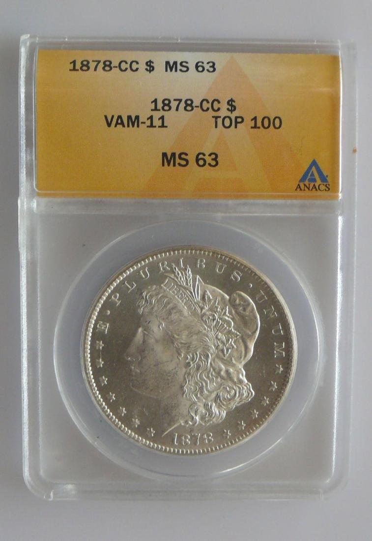 1878-CC Carson City Morgan Silver Dollar - ANACS MS 63