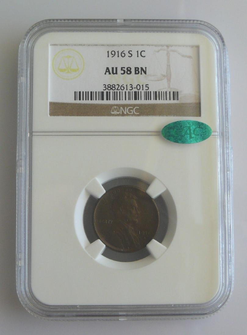 1916-S Lincoln Cent- NGC+CAC AU58 BN (Brown)