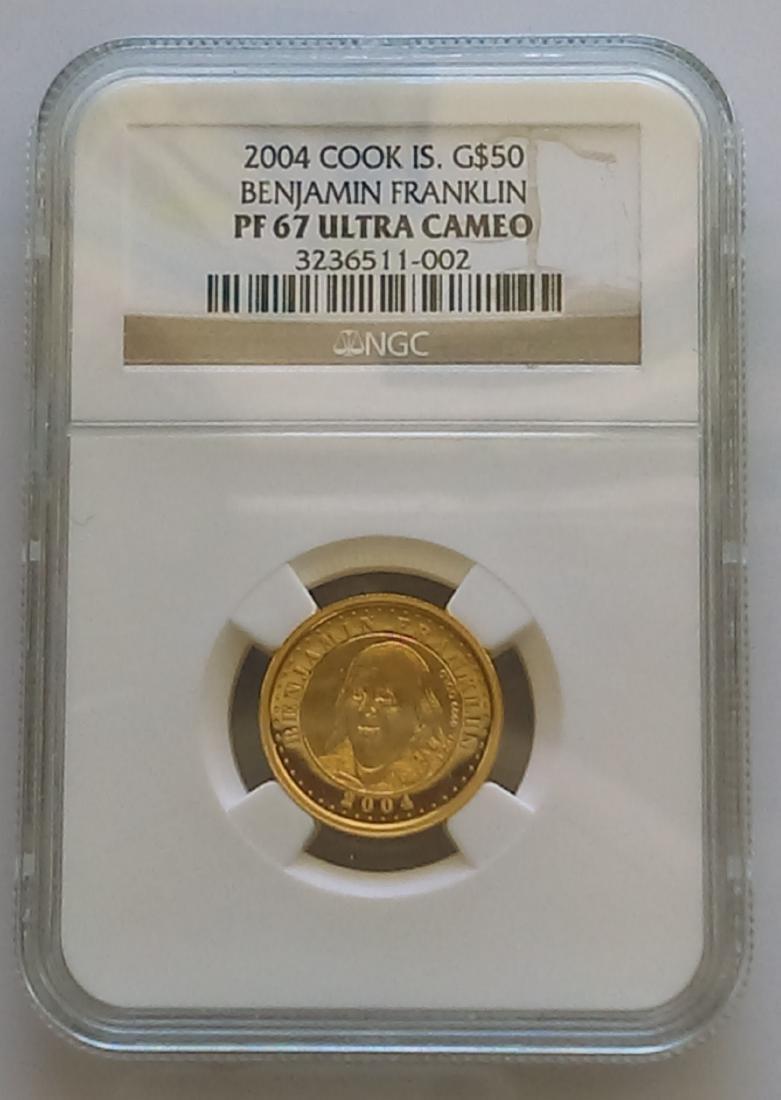 2004 Cook Islands $50.00 Half-Ounce Gold Ben Franklin