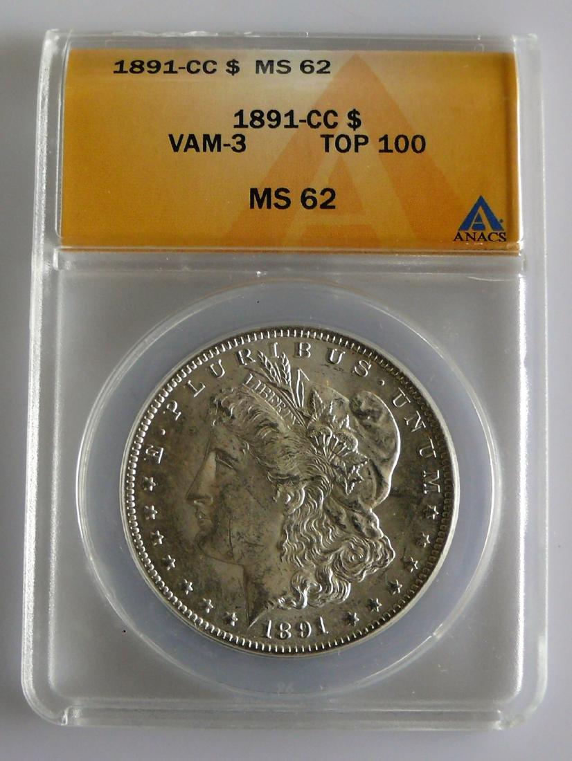 1891-CC Morgan Silver Dollar ANACS MS62 - Carson City