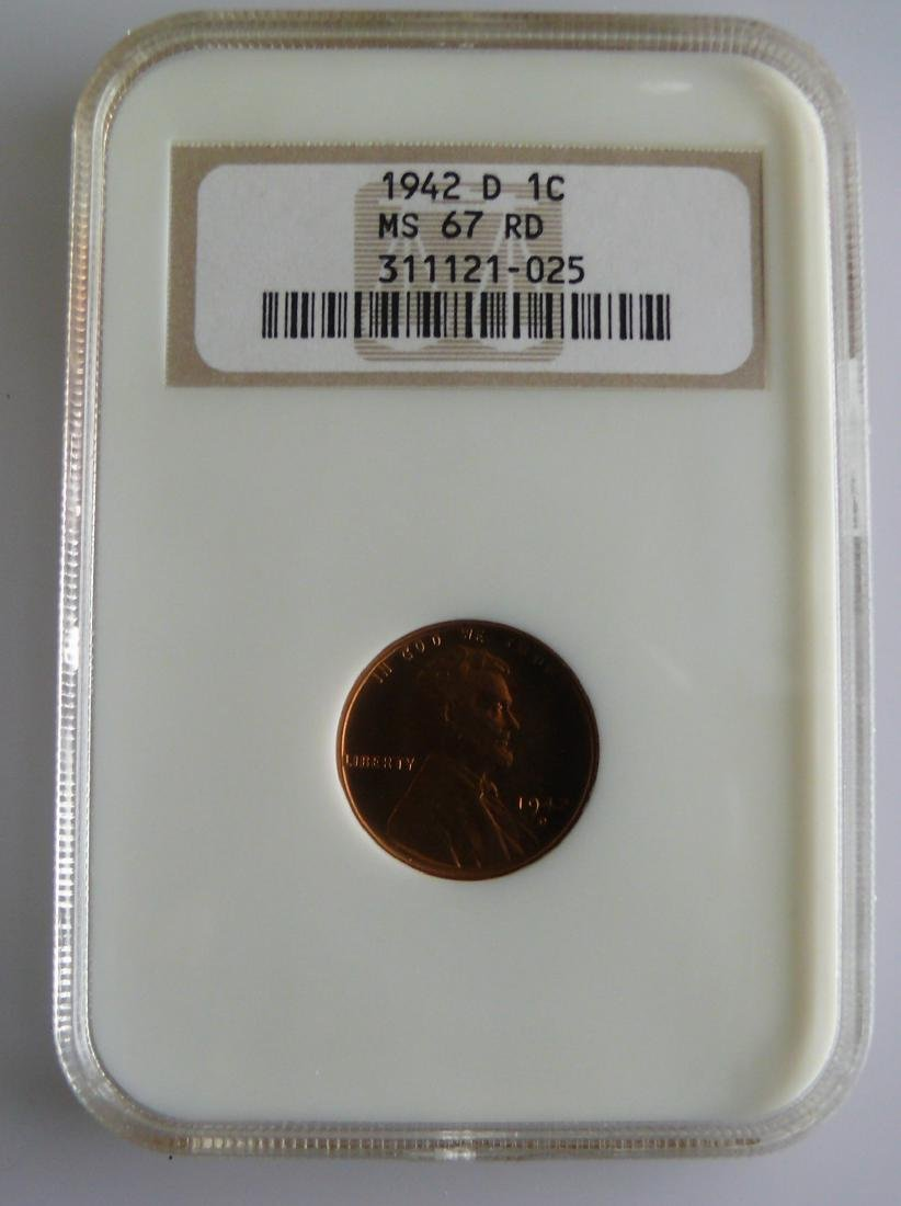 1942 D Lincoln Cent 1c NGC MS67 RD RED