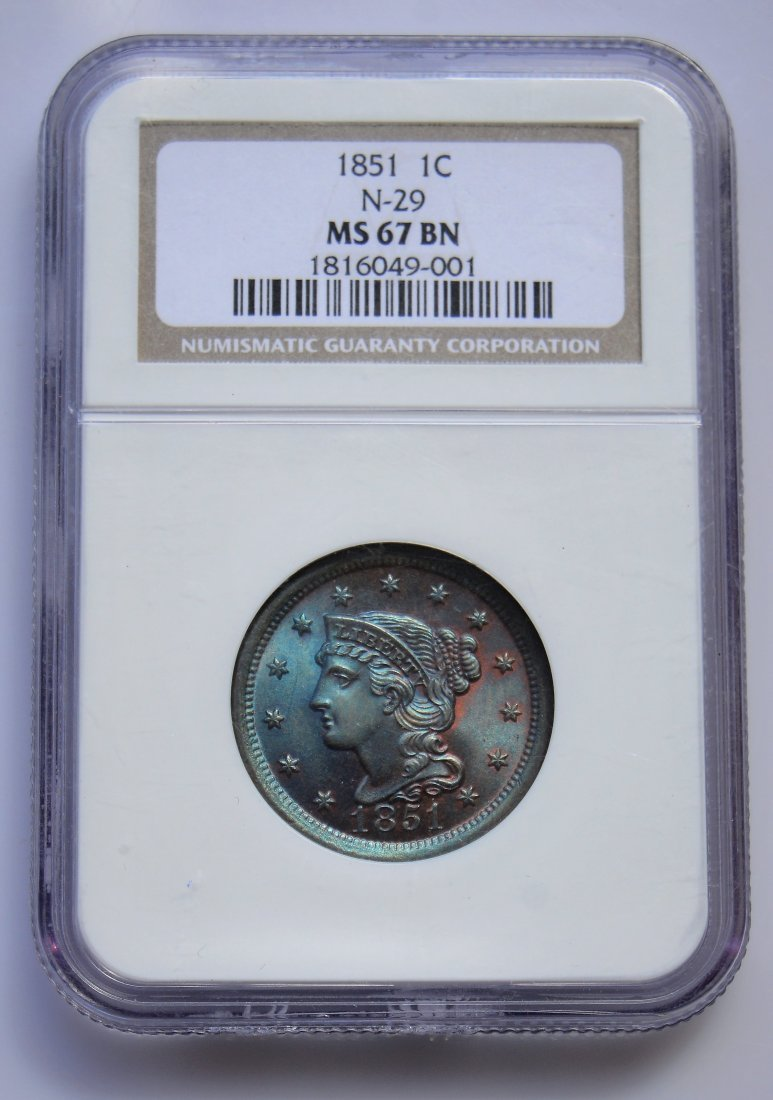 1851 N-10 Braided Hair Cent NGC Graded MS67 BN TOP POP