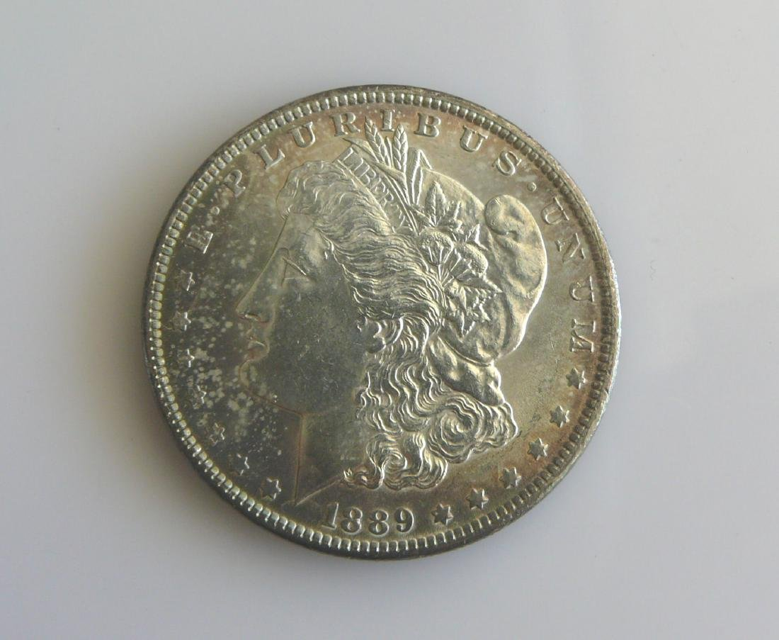 1889 P Superbly Toned Uncirculated Morgan Silver Dollar