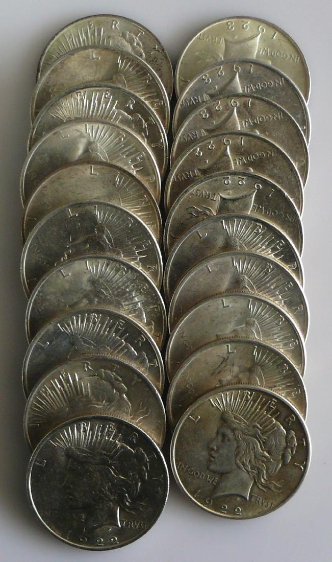 A Twenty (20) Coin Roll of BU Uncirculated 1922 Peace