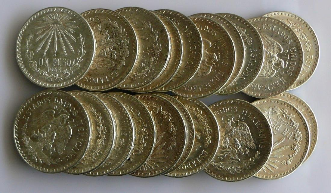 A Twenty (20) Coin Roll of BU Uncirculated 1940S Mexico